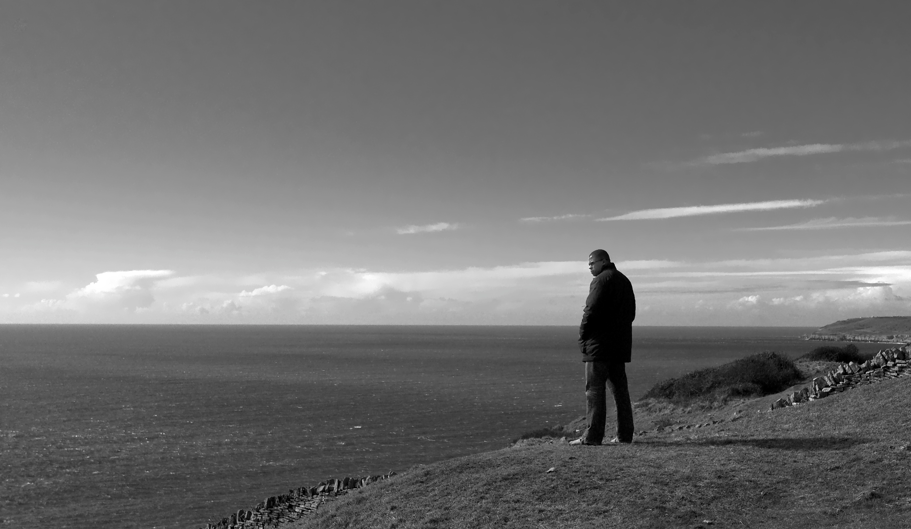Mike on Cliff light sky
